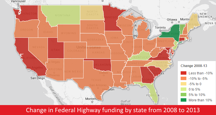 Top 10 Underfunded States for Federal Highway Funding per Capita